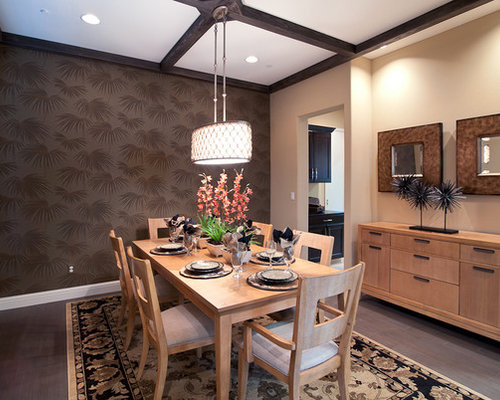 trendy dining room photo in san francisco with brown walls and dark hardwood floors - Feiss Lighting