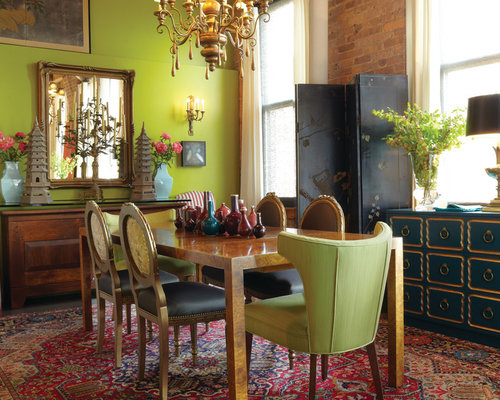 Lime green walls houzz for Lime green dining room ideas