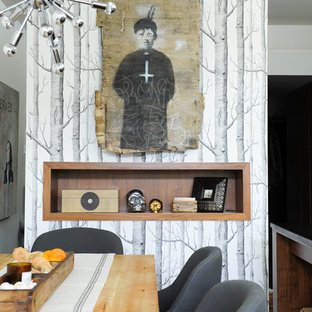 Small eclectic dining room photo in Vancouver with multicolored walls