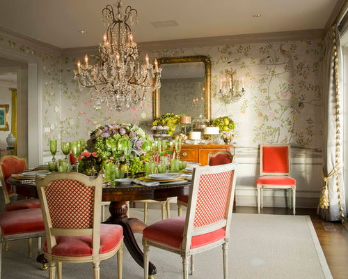 Houzz Wallpaper Dining Room: Hand Painted Wallpaper Home Design Ideas, Pictures