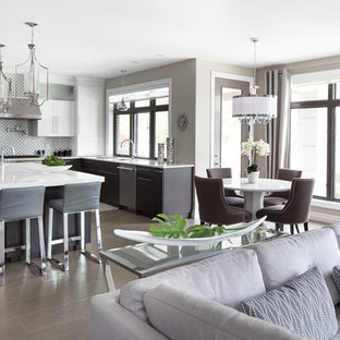 Example of a mid-sized trendy porcelain floor great room design in Toronto with gray walls