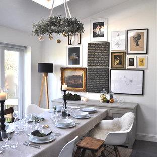 Пример оригинального дизайна: столовая в стиле фьюжн с белыми стенами