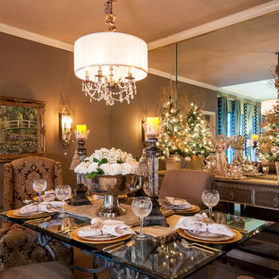 Traditional dining room in Dallas with brown walls.