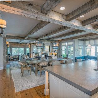 Great room - farmhouse medium tone wood floor and brown floor great room idea in Denver
