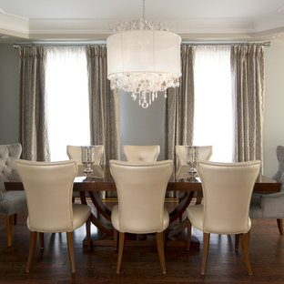 Inspiration for a transitional dining room remodel in Toronto with gray walls & Dining Room Window Treatments | Houzz