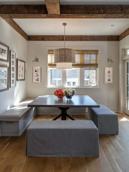 Inspiration For A Large Transitional Medium Tone Wood Floor And Brown Dining Room Remodel In