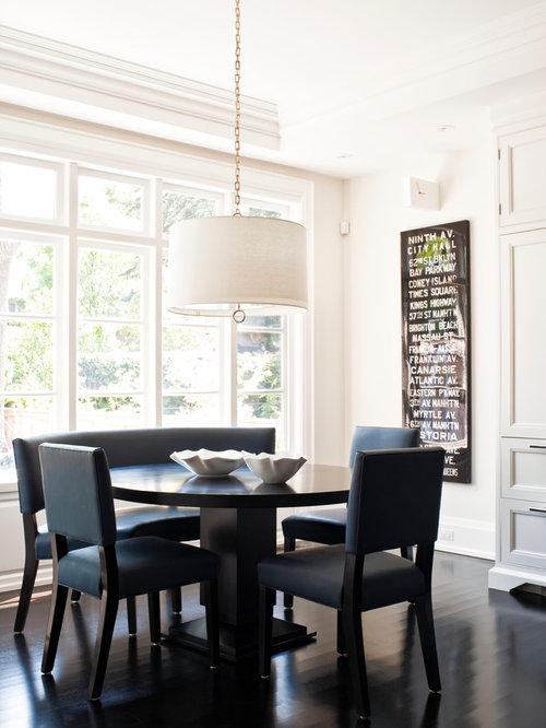 Sala da pranzo classica con pavimento in legno verniciato - Foto, Idee, Arredamento