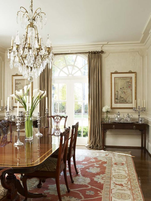 Example Of A Large Ornate Dark Wood Floor Dining Room Design In Other With White Walls
