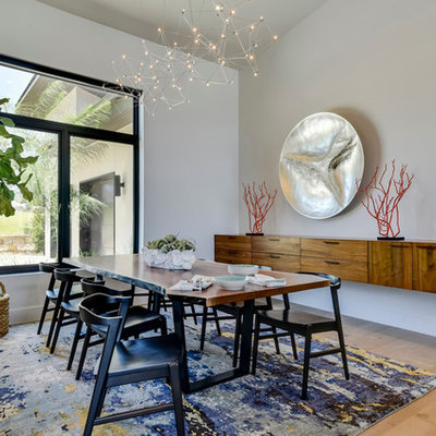 Trendy light wood floor dining room photo in Austin with white walls and no fireplace