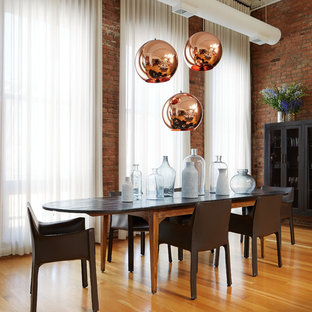 Inspiration for a contemporary medium tone wood floor and brown floor dining room remodel in Chicago with red walls