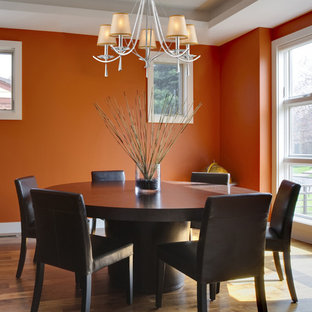 Large transitional medium tone wood floor enclosed dining room photo in New York with orange walls, a standard fireplace and a stone fireplace