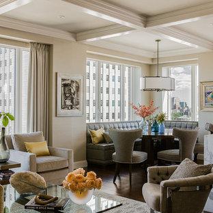Large trendy dark wood floor great room photo in Boston with beige walls