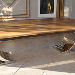 Live-edge Tables - Book-matched Live-edge Myrtle Dining Table