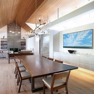 Новый формат декора квартиры: гостиная-столовая среднего размера в современном стиле с белыми стенами, паркетным полом среднего тона, коричневым полом, камином и фасадом камина из дерева