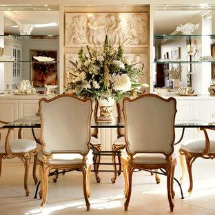 Idee per una piccola sala da pranzo con pavimento con piastrelle in ceramica, pareti beige e nessun camino
