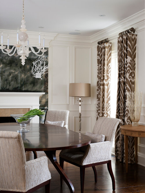 Perfect Elegant Dark Wood Floor Enclosed Dining Room Photo In DC Metro With White  Walls