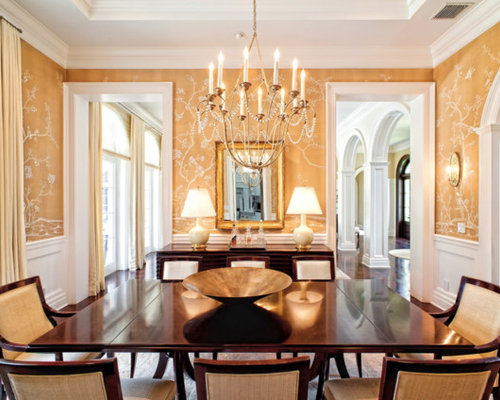 Traditional Dark Wood Floor Enclosed Dining Room Idea In Other With Yellow  Walls