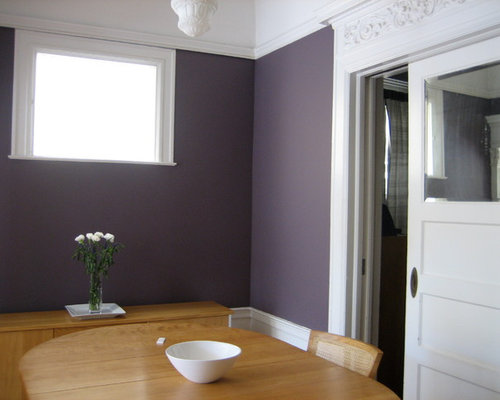 Small Ornate Enclosed Dining Room Photo In San Francisco With Purple Walls And Light Hardwood Floors Save MYKA Interior Design Group