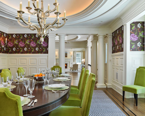 Elegant Dining Room Photo In Boston With Multicolored Walls Part 17
