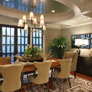 Transitional dark wood floor dining room photo in San Francisco with beige walls