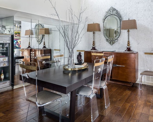 Example Of An Eclectic Dark Wood Floor And Brown Dining Room Design In Phoenix With
