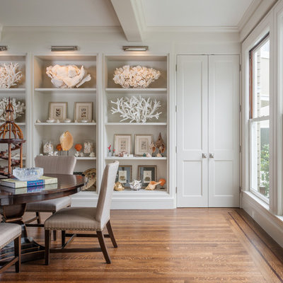 Example of a classic dark wood floor dining room design in San Francisco with white walls