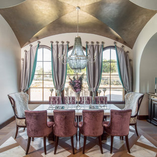 Tuscan multicolored floor dining room photo in Austin with white walls