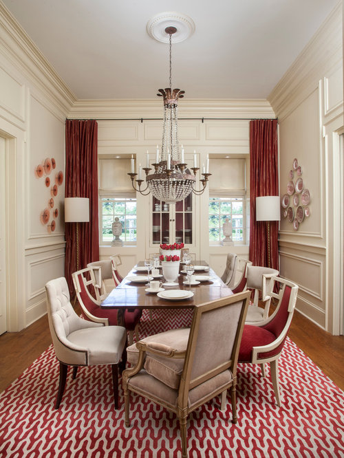 Traditional Medium Tone Wood Floor Enclosed Dining Room Idea In New Orleans  With Beige Walls