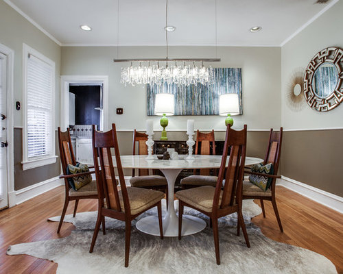 Enclosed Dining Room   Mid Sized Transitional Medium Tone Wood Floor  Enclosed Dining Room Idea