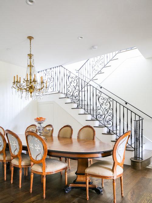 Dining Room   Dark Wood Floor Dining Room Idea In Orange County With Beige  Walls