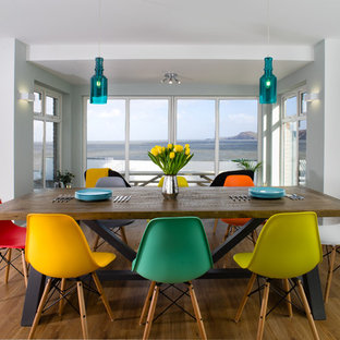 Design ideas for a medium sized contemporary dining room in Other with white walls, light hardwood flooring and beige floors.