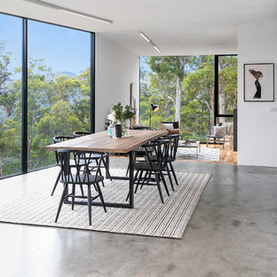 Inspiration for a large contemporary open plan dining in Hobart with concrete floors, white walls and grey floor.