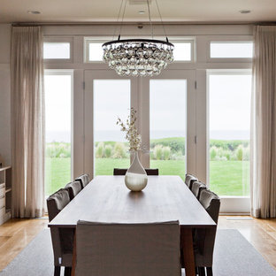 Ochre arctic pear chandelier houzz trendy medium tone wood floor dining room photo in los angeles with white walls aloadofball Images