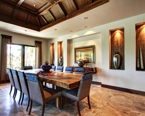 Expansive tropical dining room design ideas renovations for Tropical dining room ideas