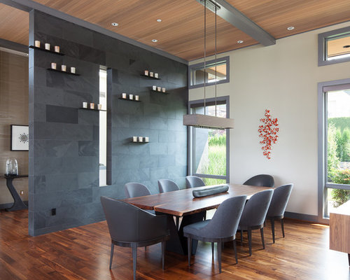 Dining Room   Contemporary Dark Wood Floor Dining Room Idea In Seattle With  White Walls