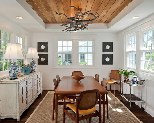 Marvelous Inspiration For A Tropical Dark Wood Floor Enclosed Dining Room Remodel In  Miami With White Walls Part 7