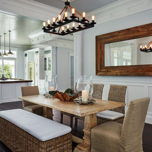 Inspiration for a large coastal dark wood floor and brown floor kitchen/dining room combo remodel in Miami with gray walls and no fireplace