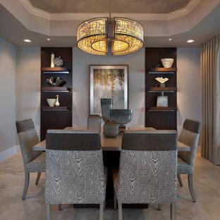 Ispirazione per una grande sala da pranzo tradizionale chiusa con pareti grigie e pavimento con piastrelle in ceramica
