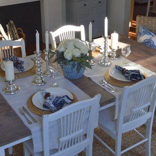 Свежая идея для дизайна: столовая в морском стиле - отличное фото интерьера