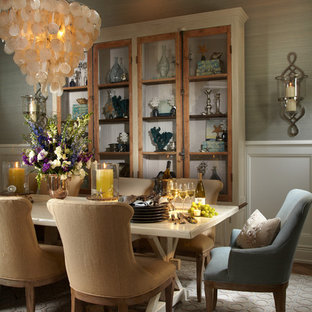 Dining room - tropical dark wood floor dining room idea in Tampa with gray walls