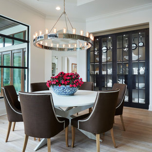 Inspiration for a coastal light wood floor dining room remodel in Miami with white walls and no fireplace