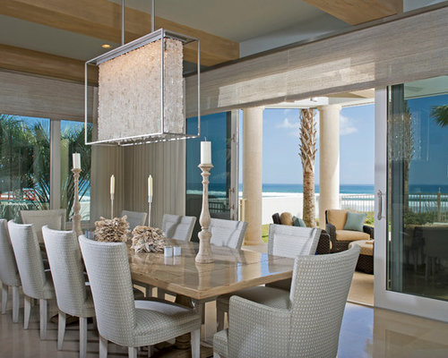 beach style dining room design ideas renovations photos with blue