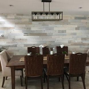 Foto di una piccola sala da pranzo chic chiusa con pareti bianche, pavimento con piastrelle in ceramica, nessun camino e pavimento beige