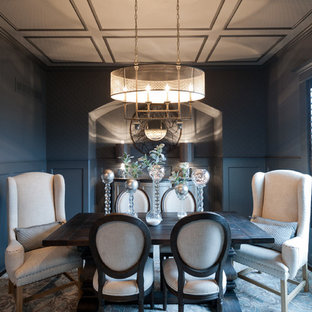 Example of a mid-sized transitional enclosed dining room design in Kansas City with blue walls and no fireplace