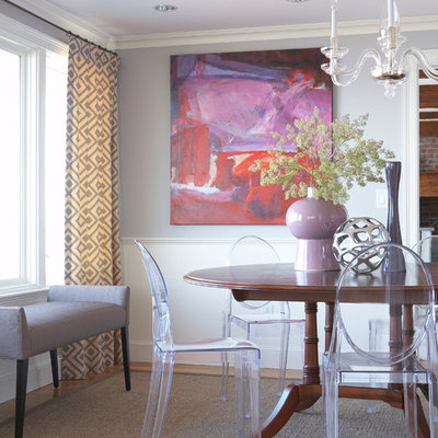 Mid-sized trendy carpeted kitchen/dining room combo photo in Boston with gray walls and no fireplace