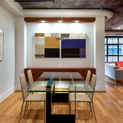 Great room - industrial light wood floor great room idea in DC Metro with white walls and no fireplace