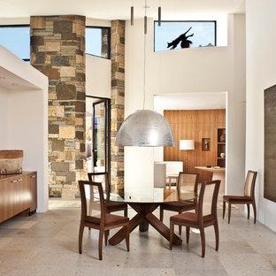Foto di un'ampia sala da pranzo aperta verso il soggiorno moderna con pareti bianche e pavimento grigio
