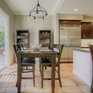 Foto di una grande sala da pranzo aperta verso il soggiorno classica con pavimento in terracotta e pavimento multicolore