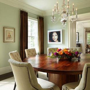 Immagine di una sala da pranzo tradizionale chiusa con pareti verdi e parquet scuro
