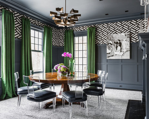 Inspiration For A Transitional Dining Room Remodel In New York With Gray  Walls, Dark Hardwood